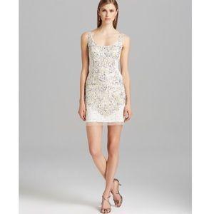 Adrianna Papell beaded white mini dress